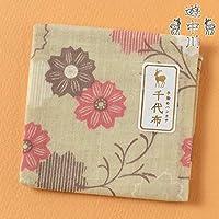 遊 中川千代布秋の小紋秋桜繋文ガーゼハンカチCotton handkerchief, Autumn pattern