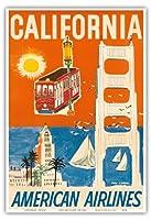 カリフォルニア - サンフランシスコケーブルカー、ゴールデンゲートブリッジ - アメリカン航空 - ビンテージな航空会社のポスター によって作成された ドン・キングマン c.1950s - アートポスター - 33cm x 48cm