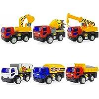 vwill早期教育赤ちゃんおもちゃプッシュプルおもちゃFriction Powered車のセット6エンジニアリングトラックToy Vehicles for Childrenキッズ男の子女の子