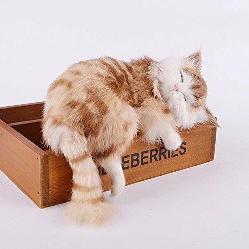 Mshine 本物そっくりに眠る茶トラ猫のぬいぐるみ 眠り猫 可愛い猫のオーナメント 置物 木製ケース付き