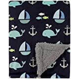 Luvable Friends Unisex Baby Plush Blanket with Sherpa Back, Ocean, One Size