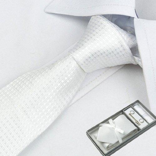 高級ネクタイ 結婚式4点セット(ネクタイ・ネクタイピン・カフス・ポケットチーフ)結構式二次会 「並行輸入品」