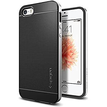 【Spigen】 スマホケース iPhone SE ケース / iPhone5s ケース / iPhone5 ケース 対応 二重構造 バンパー 米軍MIL規格取得 耐衝撃 ネオ・ハイブリッド 041CS20185 (サテン・シルバー)