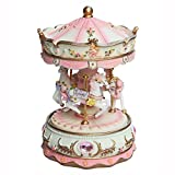AVESON Luxury Carousel Music Box, Clockwork Mechanism 3-horse With Colour Changing LED Light Gift For Christmas /Birthday /Valentine's day, Melody Castle in the Sky(Laputa), Pink