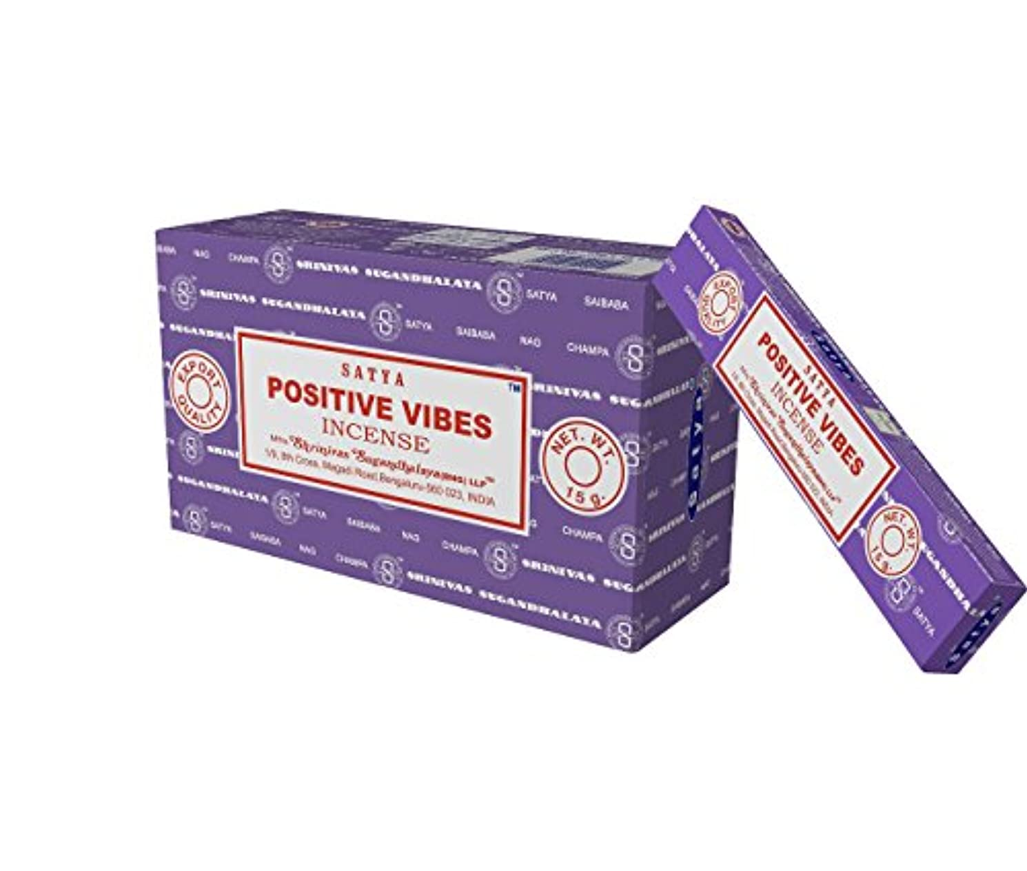 しゃがむ体系的に気づくSatya Nag Champa Positive Vibes Incense Sticks、12カウント