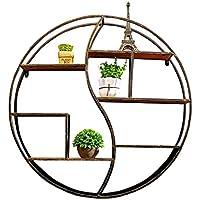 バー居間のための壁の棚の金属鉄の木|ブックシェルフ収納ラックとしてのベッドルーム用LOFT壁掛けキューブシェルフ|ウォールデコレーションデザインとしてのフローティングユニットフレームVintage Industrial style(Black) ( サイズ さいず : 60*12*60cm )