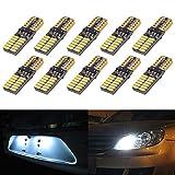 KaTur 800ルーメンT10 W5W 2825 168 LED CanBusエラーフリー4014 24 SMD 5W車のフロントサイドマーカードア礼儀ライセンスプレートLED電球ホワイト10パック