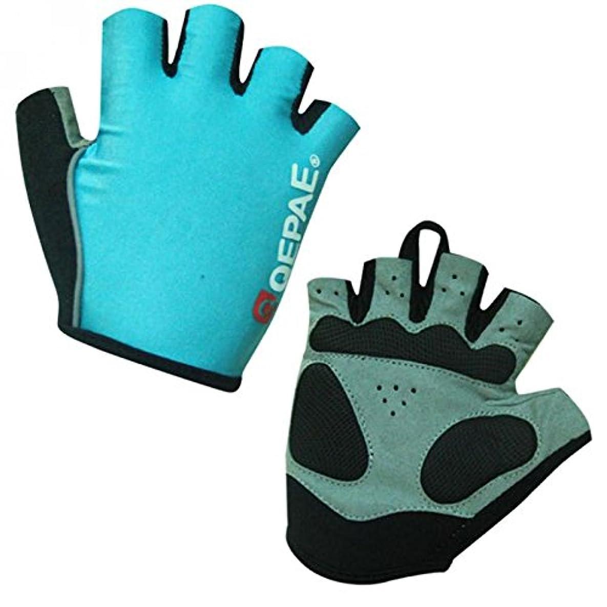 柔和清める不承認GRALARA耐久性 アウトドア MTB 自転車 乗馬 サイクリング 反射 ハーフフィンガー グローブ 手袋 4色4サイズ選べる - 青, S