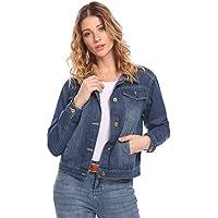 SoTeer Womens Classic Button Down Denim Jean Jacket