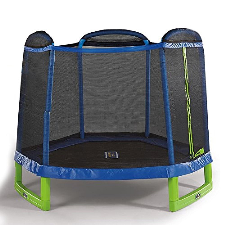 7FT (直径:213cm) 大型トランポリン トランポリン セーフティーネット付き 安心安全 ご自宅のお庭で遊園地気分 子供から大人まで楽しめる