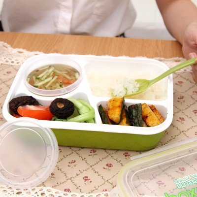 マジックキッチン密封Microwaveableランチボックス3Plus 1弁当ボックスforキッズ子供学校Office with Simplicity freshスタイル(グリーン)