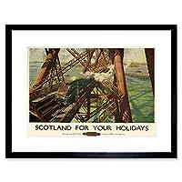 Travel Ad Vintage Scotland Holidays Forth Bridge Framed Wall Art Print 旅行ビンテージスコットランド休日ブリッジ壁