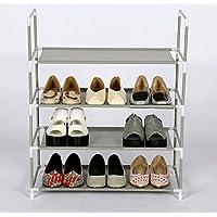シューズラック 玄関収納ケース 靴棚 組み立て式 靴箱 下駄箱 シューズボックス スリム アルミ 軽量 省スペース (4段)