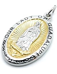 [シルバーワン] グアダルーペの聖母マリア 銀縁 黄金メダイ 特大ペンダントトップ ネックレス メンズ ku (楕円型 ステンレス ゴールド)