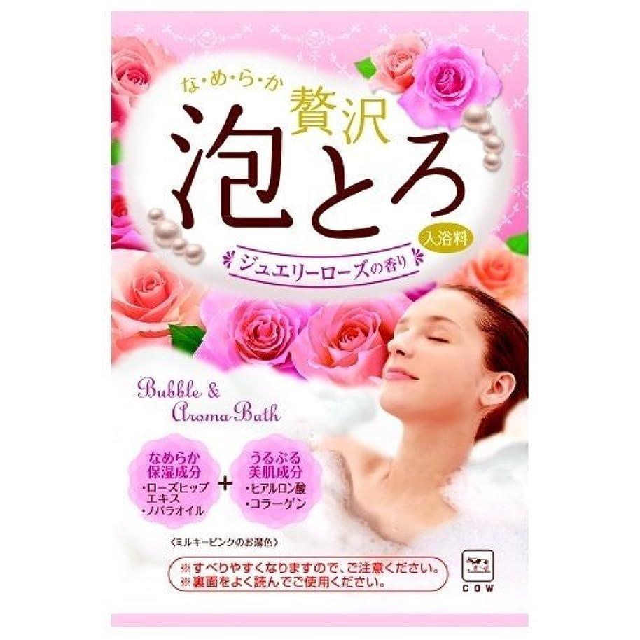優雅ちょうつがい飲み込む牛乳石鹸共進社 贅沢泡とろ 入浴料 ジュエリーローズの香り 30g