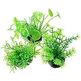 Uotyle Fish Tank Plants Plastic Artificial Aquarium Plants Decorations Green Ornament Small 3Pcs