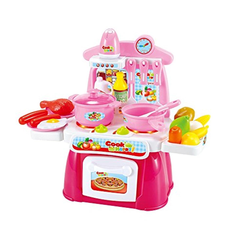 サービス永久に露骨なgoupgolboll-22ピースふりプレイセットミニキッチン調理器具食品サウンドライト子供のおもちゃ - ピンク