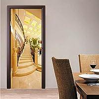 Xbwy 写真の壁紙3Dゴールデン階段壁画ホテルのリビングルームのドアのステッカーモダン空間拡張Pvcウォールペーパー-150X120Cm