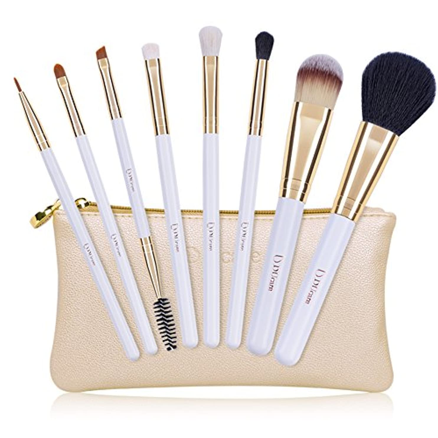 防腐剤減る旅行者ドゥケア(DUcare) 化粧筆 メイクブラシ 8本セット 白尖峰&高級タクロン使用 ゴールドのレザー風化粧ポーチ付き