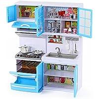 Kinder Toys ハッピーエミリー キッチンセット 11-12インチの人形向け (光/音、オーブン、レンジフード、深なべ/平なべ、キッチン用具と道具、ティーセット、食料雑貨付き)