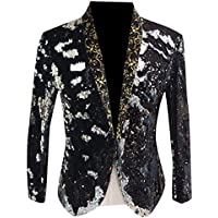RkBaoye Mens Satin Sequin One Button Contrast Tuxedo Suit for Show