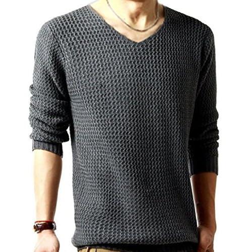 (リザウンド)ReSOUND メンズ ニット セーター 灰色 XL Vネック カットソー シャツ なが袖 はる ふゆ カジュアル サマー カーデガン フォーマル tシャツ 秋物 あき物 ボーイズ 男 コート 40代 グレー XL 353