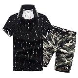 SemiAugust(セミオーガスト)メンズ アウター セットアップ 上下 ポロシャツ クールビス ゴルフウェア ショートパンツ カジュアル 迷彩 半ズボン 鹿の子 カジュアル おしゃれ シャツ ストリート メンズファッション (ブラックグリーン 3XL)