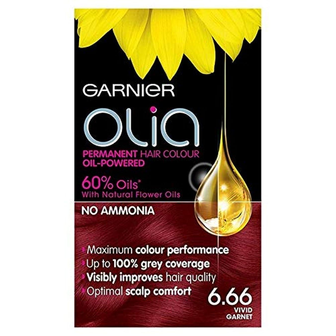 強調モンスター苦しむ[Garnier ] 6.66鮮やかなガーネット赤パーマネントヘアダイOliaガルニエ - Garnier Olia 6.66 Vivid Garnet Red Permanent Hair Dye [並行輸入品]