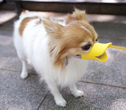 QZSKY ペット用マスク アヒル口の形マスク 犬用無駄吠え 拾い食い 噛みつき しつけ 家具破壊防止 キズ舐め止め 口輪 小型犬 イエロー 1個入り S