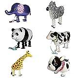 Amazon.co.jpバルーン,SODIAL(R) 6xウォーキング動物バルーン 誕生日パーティーの装飾 子供のギフト ブルドッグ、キリン、シマウマ、ゾウ、パンダ、牛を含めて