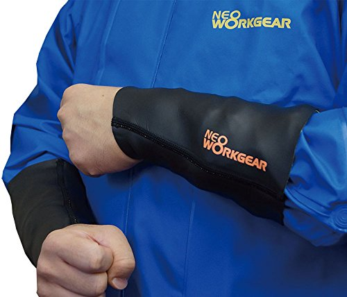 ネオプレーン リストガード 袖口カバー 水侵入防止 ネオワークギア (ロング ブラック スキンタイプ, M)