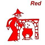 ノーブランド 赤 カッティングシール 魔女 鍋 暖炉 witch pot fireplace