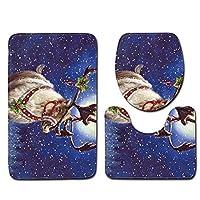クリスマス3pcs /セット雪景色バスマットバスルームカーペットセットサンタクロースクリスマスツリーアンチスリップ台座ラグリッドトイレカバー,10,45*75Cm;45*37.5Cm;35*45Cm
