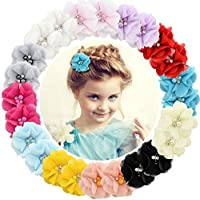 "Baby Girls Clips 24pcs 2"" Chiffon Flower Sparkly Rhinestone Pearl Clips Hair Barrettes for Baby Girls Infants Teens Toddlers Kids Set of 12 Pairs"
