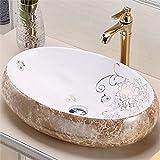 Tophome 洗面ボウル 洗面ボール 洗面器 手洗い鉢 洗面台 手洗器 陶器製 楕円形 大理石風合い 48cm