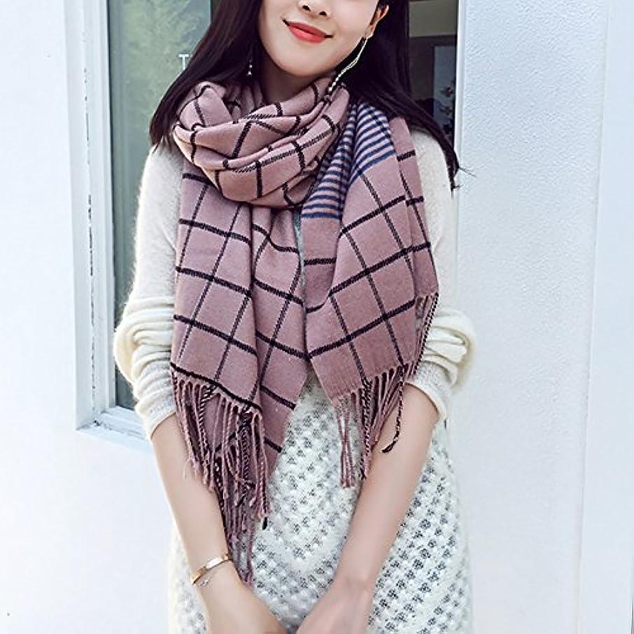 航海モロニックオーケストラZZHF 女性の余暇Latticeのスカーフ秋と冬の厚さの延長スカーフショールの二重使用4色があります(サイズ:193 * 60センチメートル) シルクのスカーフ ( 色 : C , サイズ さいず : 193*60CM )