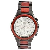 Handcraftローズ木製メタルwith Ironメッキクオーツメンズ木製腕時計