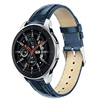 ZSZCXD Compatible for Samsung Galaxy Watch 42mm / 46mm, Genuine Leather Replacement Wristband Watchband for Samsung Galaxy Watch (42mm) SM-R810/SM-R815 or (46mm) SM-R800