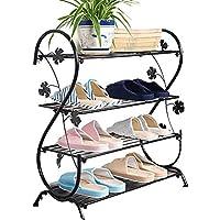 SLH 靴棚マルチレイヤーシンプルモダンミニマリストホームリビングルームスペース多機能ストレージ鍛造靴ラック (Color : Black)