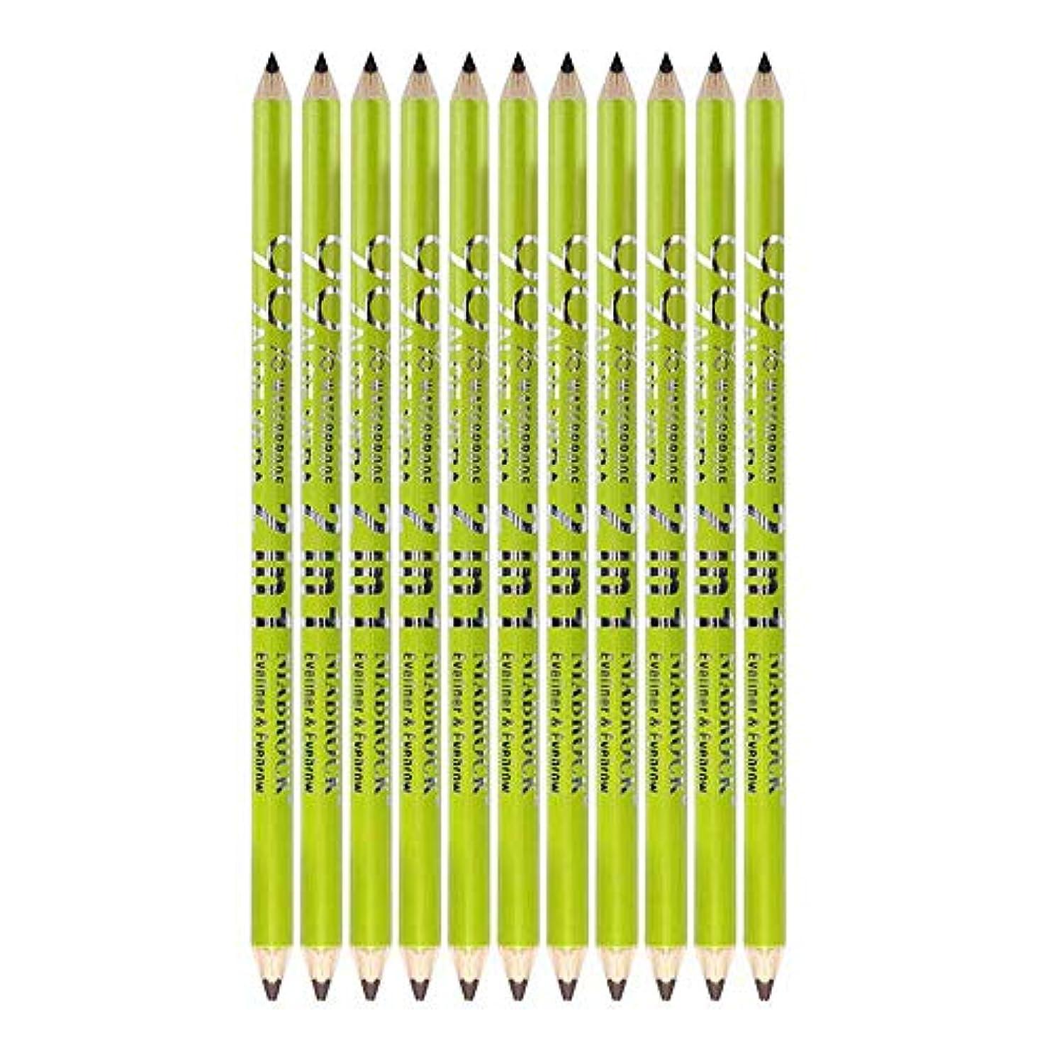 トレイ対称値12ピースアイライナーペンシル防水化粧品アイメイク+鉛筆削り