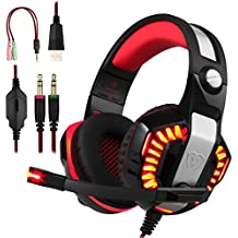 BlueFire Professional Stereo Gaming Headset for PS4, Xbox One Headphones with Mic and LED Lights for Playstation 4, Xbox One, PC (Red)