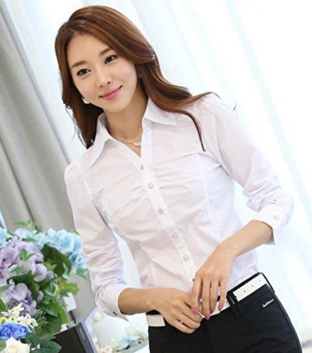 (マジックショップス) レディース Vネック ブラウス シャツ 長袖 大きいサイズ ワイシャツ 無地 オフィス 白 (ホワイト M)