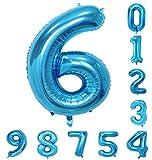 バルーン(0-9)40インチ青の数字誕生日パーティーのアラビア数字6