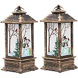 LIOOBO 2pcs Led Christmas Lantern Snowman Night Light Christmas Decorative Glittering Lantern Light Lamp Christmas Home Decoration