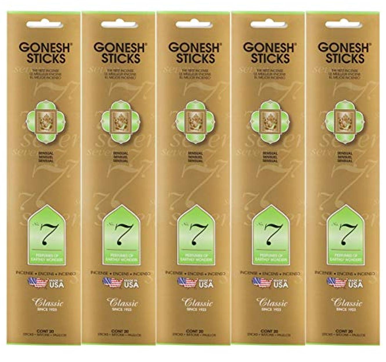 騒ヘルパー安定したGonesh Incense Sticksクラシックコレクション – 7番Perfumes of Earthly Wonders 5パック(合計100 )