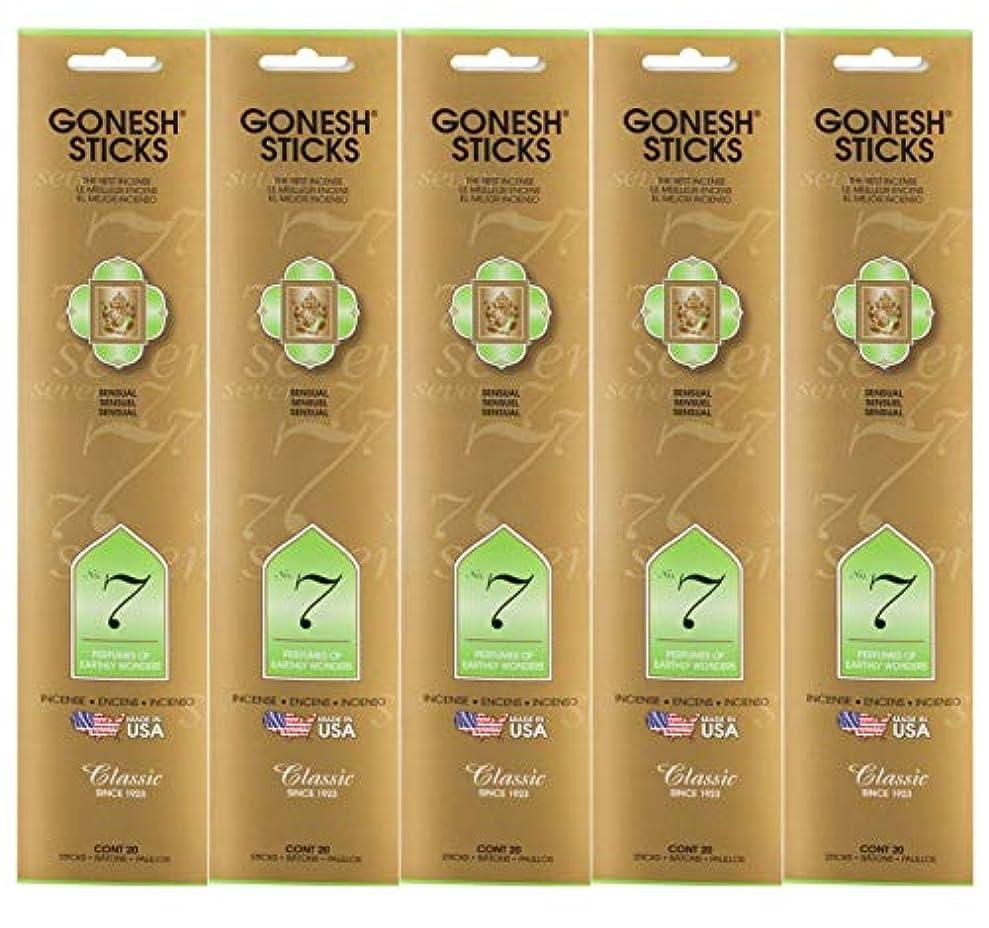 Gonesh Incense Sticksクラシックコレクション – 7番Perfumes of Earthly Wonders 5パック(合計100 )