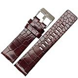 Choco&Man(チョコマン) ディーゼル diesel 時計 ベルト 22mm 24mm 26mm 28mm 30mm 4色本革時計バンド 防水 【3本バネ棒+バネ棒外し+専用ボックス付き】 (24mm, C-レッドブラウン)