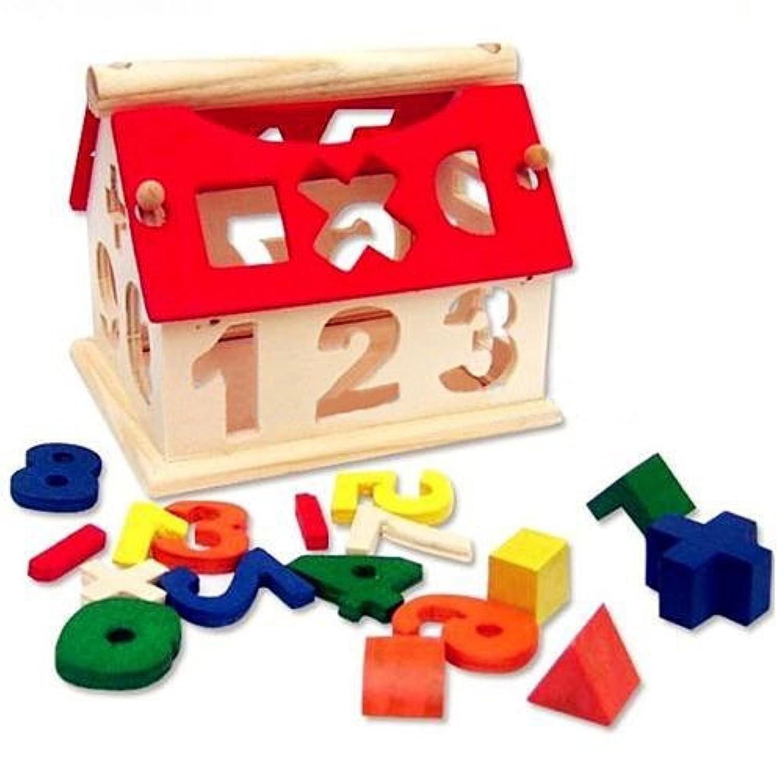 easybuy11デジタル家Toys Childrens木製番号家建物ブロック教育知的玩具