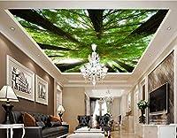 壁紙 3d 壁画 元の森の緑の木の天井の壁画、リビングルームのベッドルームは、壁紙を飾る (W)430x(H)300cm