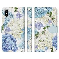 Ruuu iPhone XR 手帳型 スマホ ケース カバー 紫陽花 ボタニカル ブルー 花柄 あじさい はな 蝶々 フラワー ブーケ フェミニン おしゃれ 可愛い かわいい 大人かわいい フローラル お洒落 ユニーク 個性的 白 ホワイト